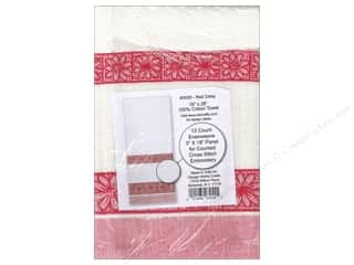 "Design Works Crafts 11"": Design Works Cross Stitch Towel 100% Cotton Red Daisy"