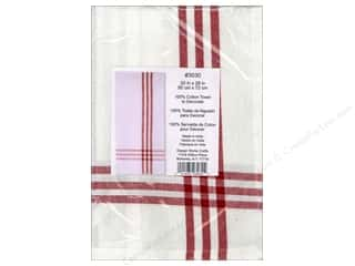 Design Works Crafts Blue: Design Works Embroidery Towel Striped Red