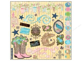 Border Stickers / Corner Stickers: Bo Bunny Sticker Chipboard 12x12 Prairie Chic
