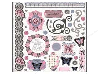 Border Stickers / Corner Stickers: Bo Bunny Sticker Chipboard 12x12 Isabella
