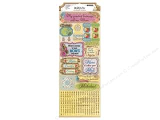 theme stickers  holidays: Bo Bunny Sticker Cardstock C'est La Vie LoveYouMom