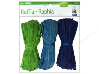 Floral & Garden Blue: FloraCraft Raffia Green/Blue/Teal 3 piece