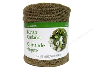 Craft Embellishments: FloraCraft Burlap Ribbon 5 in x 10 yd. Garland Natural