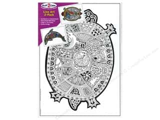 Stuff2Color Line Art Poster Dolphin/Sea Turtle 2pc