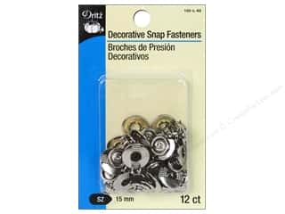 Snaps 15mm: Decorative Snap Fasteners by Dritz 9/16 in. Circle Nickel 12 pc.