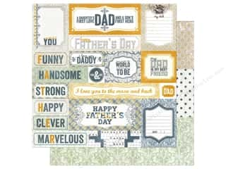 dad & gray blue: Authentique 12 x 12 in. Paper Foundations Collection Strong (25 pieces)