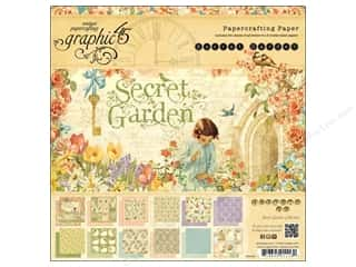 button: Graphic 45 Secret Garden 8 x 8 in. Paper Pad
