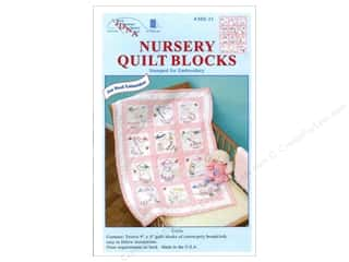 Jack Dempsey Stamped Quilt Blocks: Jack Dempsey Nursery Quilt Block 12pc Girls