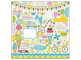 theme stickers  summer: Carta Bella Sticker 12 x 12 in. Cool Summer Element (15 set)