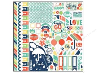 Echo Park Paper Company Alphabet Stickers: Echo Park Sticker 12 x 12 in. Happy Go Lucky Element (15 sets)