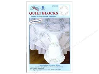 "Stamped Goods Stamped Tablecloths: Jack Dempsey Quilt Block 18"" 6pc White Wedding Rings"