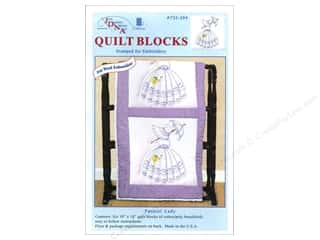 "Stamped Goods Stamped Tablecloths: Jack Dempsey Quilt Block 18"" 6pc White Parasol Lady"