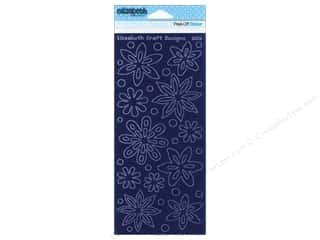 Elizabeth Craft Sticker Velvet Flowers Dark Blue