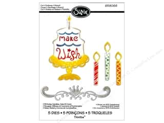 Sizzix Thinlits Die Set 5PK Birthday Candles Cake & Crown