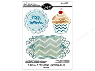 Sizzix Thinlits Die Set 3PK Birthday Cupcake & Labels