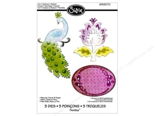 Dies Animals: Sizzix Thinlits Die Set 3PK Peacock Frame & Flower by Rachael Bright