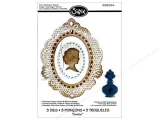 Sizzix Thinlits Die Set 3PK Victorian Cameo Frame & Perfume Bottle