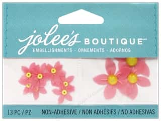 Craft Embellishments Flowers: Jolee's Boutique Embellishments Light Red Flowers with Yellow Centers