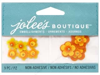 Cording Flowers: Jolee's Boutique Embellishments Felt Flowers Orange