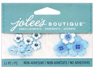 Cording Flowers: Jolee's Boutique Embellishments Blossoms Button Center Light Blue