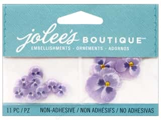 Flowers / Blossoms Glass: Jolee's Boutique Embellishments Purple Pansies