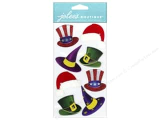stickers  -3D -cardstock -fabric: Jolee's Boutique Stickers Dressups Holiday Hats