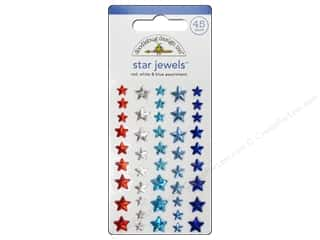 sticker: Doodlebug Sticker Star Jewels Red White Blue