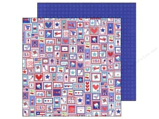 Doodlebug Paper 12 x 12 in. Stars &amp; Stripes U.S. Postage (25 piece)
