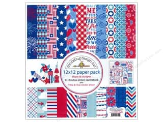 sticker: Doodlebug Paper Pack 12 x 12 in. Stars &amp; Stripes