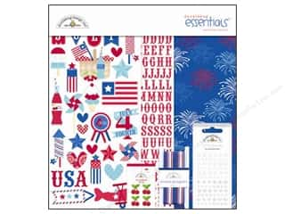 sticker: Doodlebug Kit Essentials Paper Stars &amp; Stripes