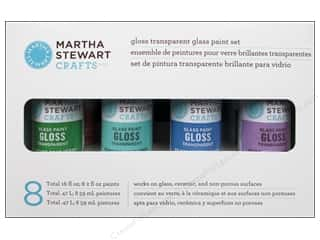 Clearance Plaid Stamps Clear: Martha Stewart Glass Paint by Plaid Gloss Transparent Set 8 pc.