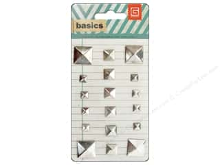 BasicGrey Metal Stud Stickers Basics Square Silver