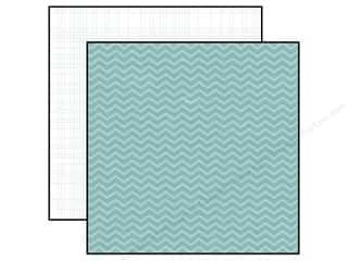 "Simple Stories Paper 12""x 12"" 24/Seven Blue Chevron/Grid (25 piece)"