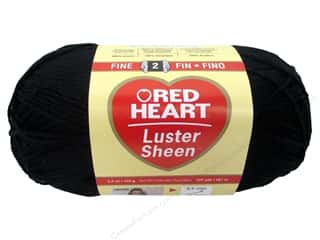 Red Heart Yarn: C&C Red Heart LusterSheen Yarn 3.5oz Black 307yd