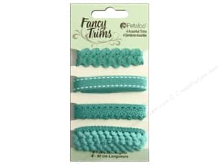 Pom Poms Ribbon Work: Petaloo Fancy Trims 4yd Assorted Shades of Teal