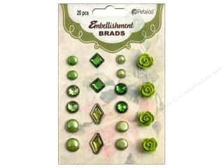 Rhinestones Flowers: Petaloo Embellishment Brads 20pc Shades of Green