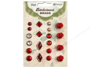 Petaloo Embellishment Brads 20pc Shades of Red
