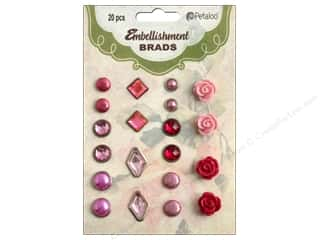 Petaloo Embellishment Brads 20pc Shades of Pink