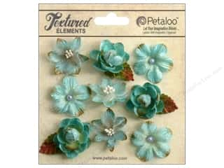 Flowers / Blossoms Blue: Petaloo Textured Elements Mini Blossoms Teal