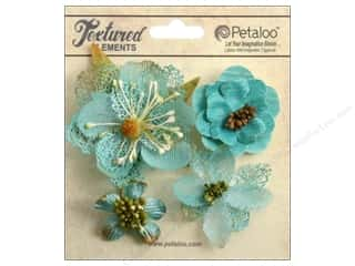 Bazzill Embellishment Flowers / Blossoms / Leaves: Petaloo Textured Elements Blossoms Teal