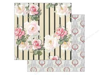 Anna Griffin Paper 12&quot;x 12&quot; Eleanor Floral Stripe Black (25 piece)