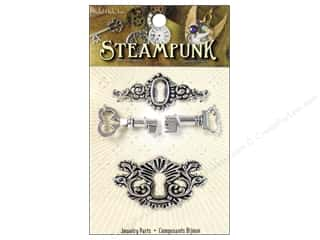Charms: Solid Oak Charm Steampunk Drawer Latches Antique Silver