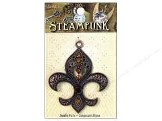 Solid Oak Charm Steampunk Large Fleur de Lis Gold