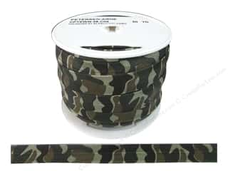 Trims Brown: Fold Over Nylon Elastic by Cheep Trims 5/8 in. Camo (50 yards)