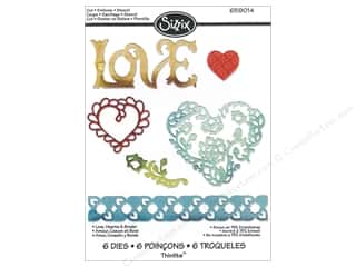 Love & Romance Stencils: Sizzix Thinlits Die Set 6PK Love Hearts & Border by Rachael Bright