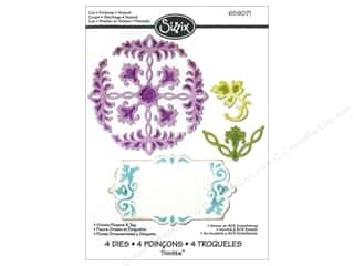 Sizzix Thinlits Die Set 4PK Ornate Flowers & Tag
