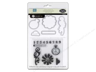 Tabs ABC & 123: Sizzix Framelits Die Set 5 PK w/Stamps For The Record 2 Tailored #2 by Echo Park