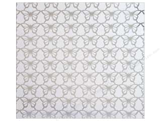 "Anna Griffin Vellum & Specialty Papers: Blend Paper 12""x 12"" Blomma Foil Butterflies Silver (25 pieces)"
