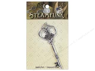 Solid Oak Pendant Steampunk Giant Key Antique Silver