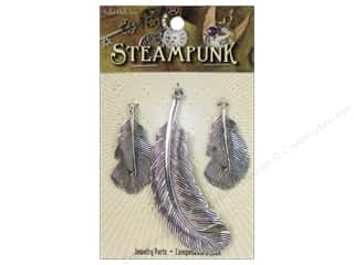 Solid Oak Pendant Steampunk Feathers Antique Silver